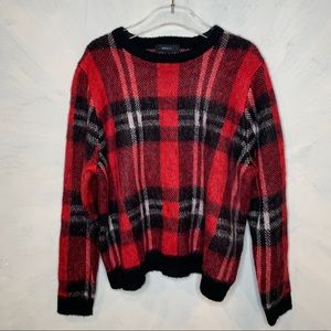 Holiday Plaid Red & Black Crew Neck Sweater 3X NEW